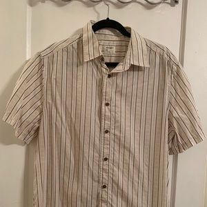 Old Navy L Tan, White and Brown Button-down shirt